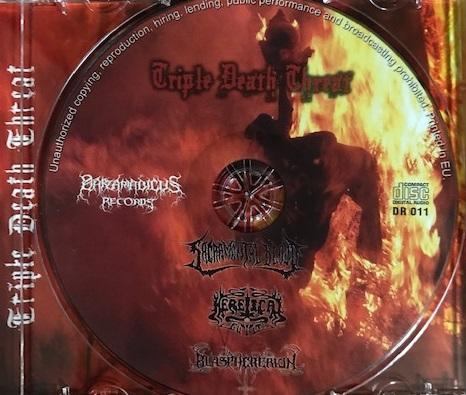 [レビュー]Sacramental Blood / Heretical Guilt / Blasphererion – Triple Death Threat (セルビア/デスメタル・スプリット盤)